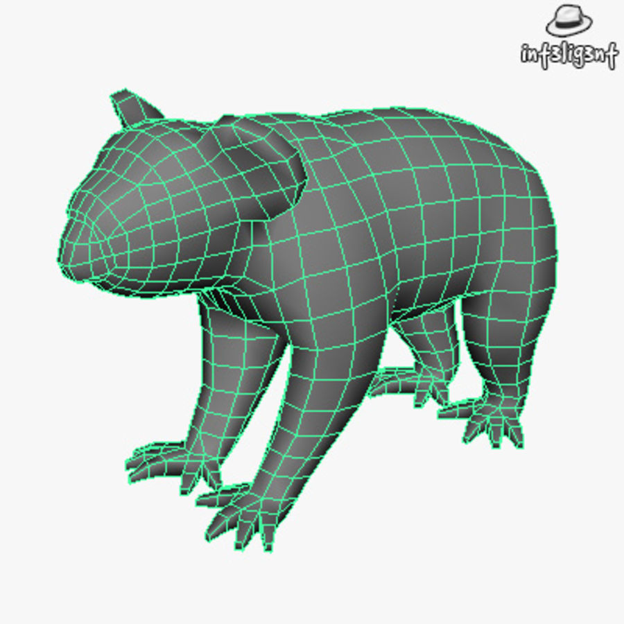 Låg Poly Koala royalty-free 3d model - Preview no. 4