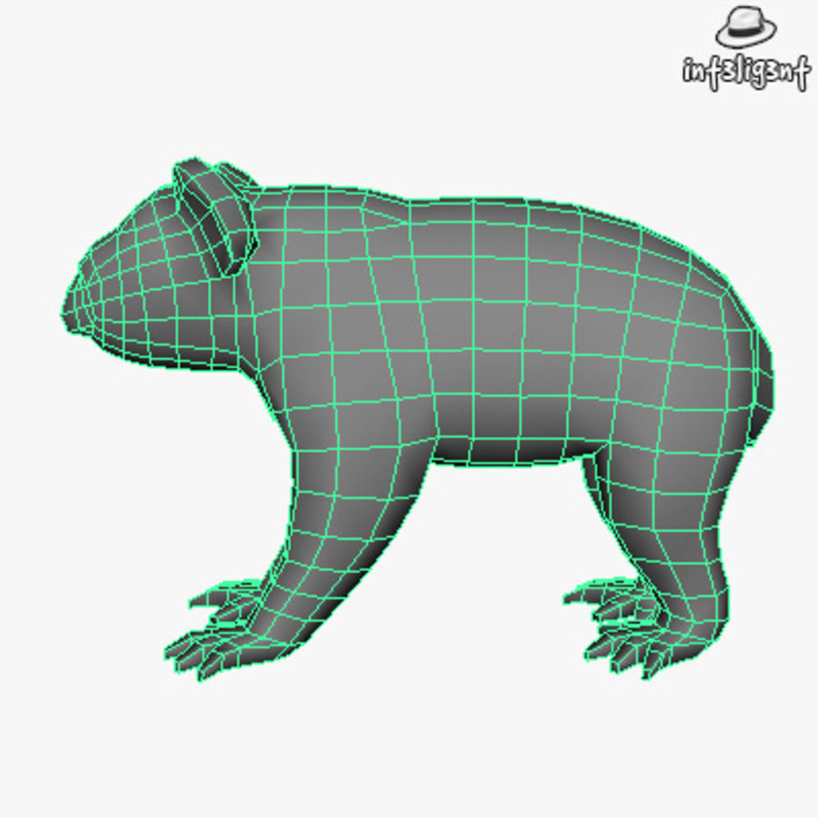 Låg Poly Koala royalty-free 3d model - Preview no. 5
