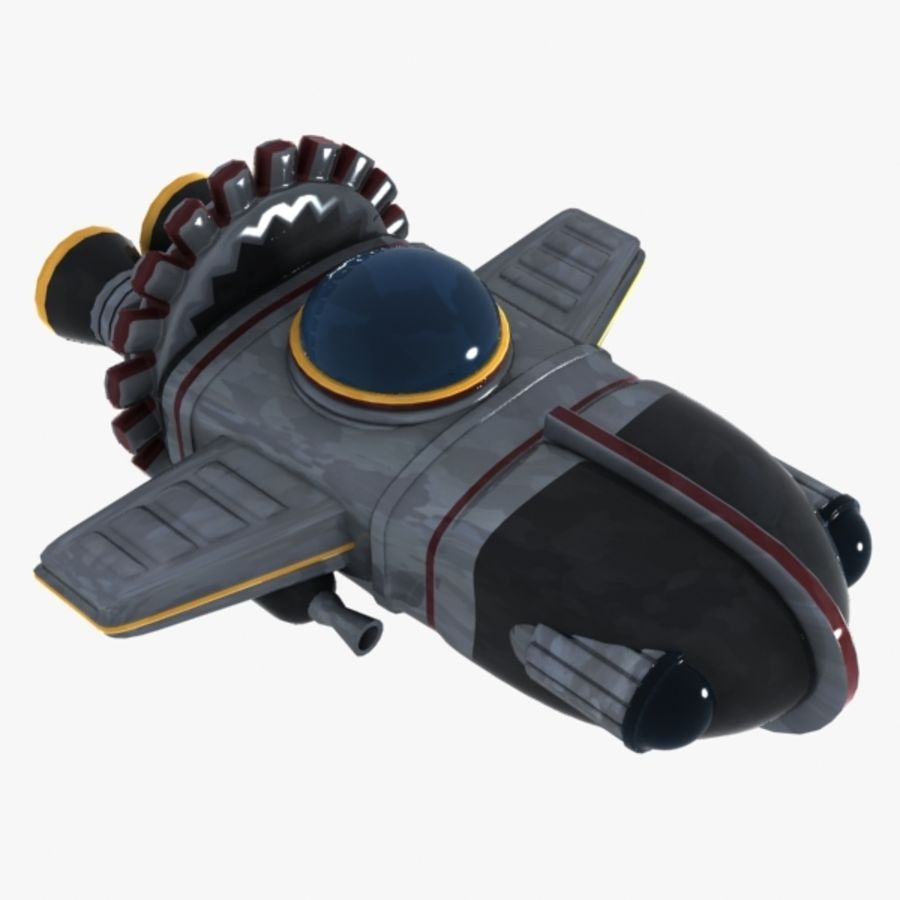 Cartoon Spacecraft royalty-free 3d model - Preview no. 7