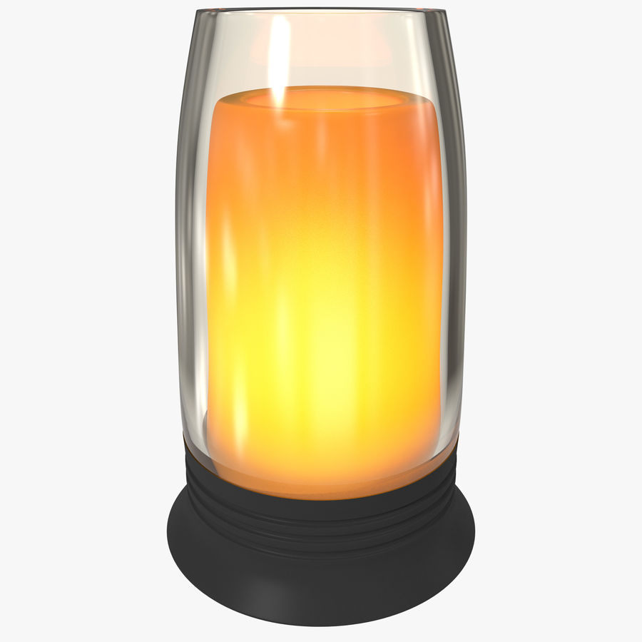 Glass Flameless Candle royalty-free 3d model - Preview no. 1