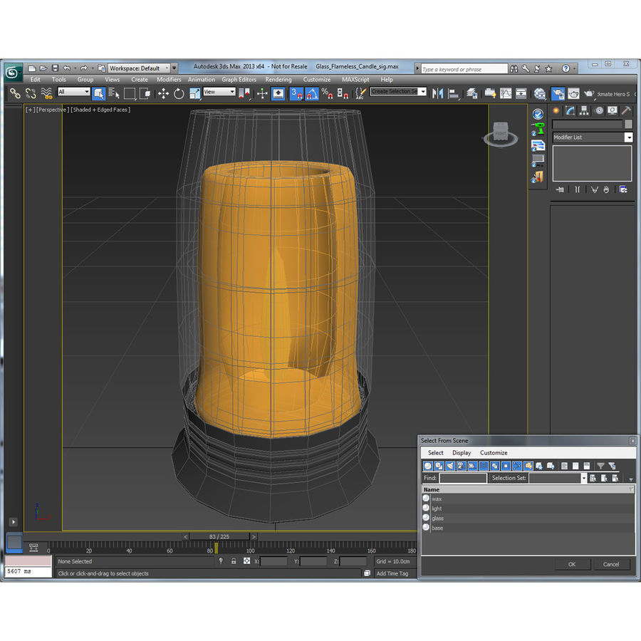 Glass Flameless Candle royalty-free 3d model - Preview no. 19