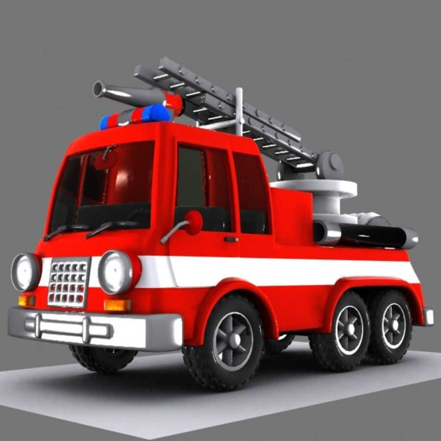 Cartoon Fire Truck 1 royalty-free 3d model - Preview no. 2