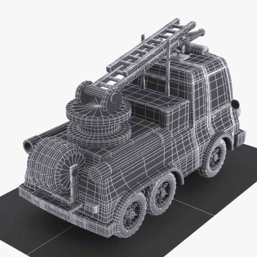 Cartoon brandweerwagen 1 royalty-free 3d model - Preview no. 10