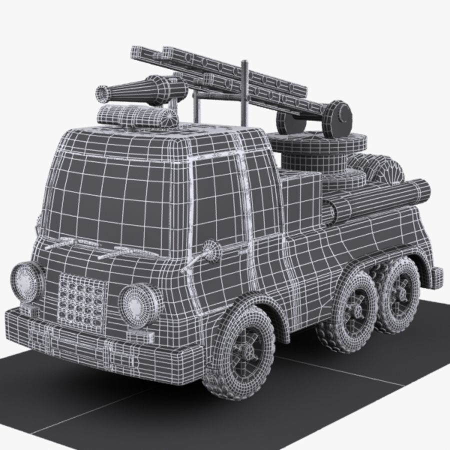 Cartoon Feuerwehrauto 1 royalty-free 3d model - Preview no. 7