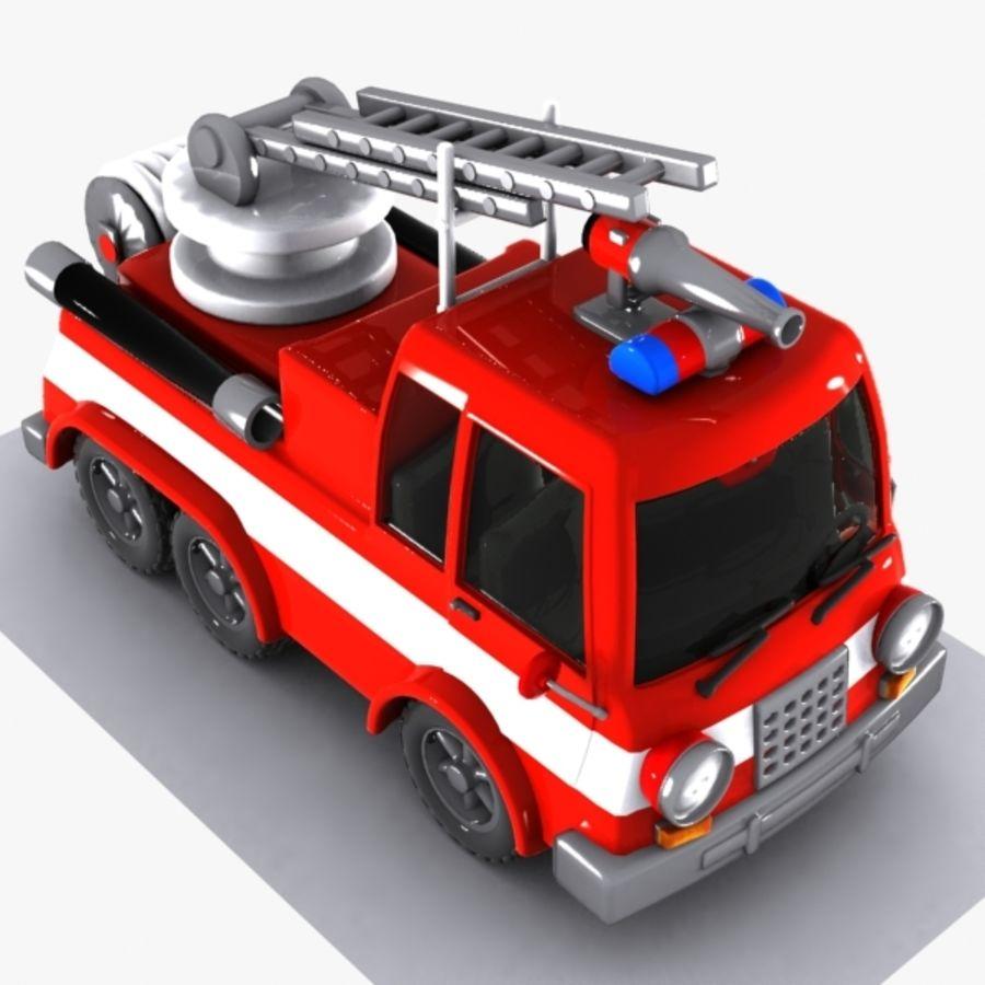 Cartoon brandweerwagen 1 royalty-free 3d model - Preview no. 5
