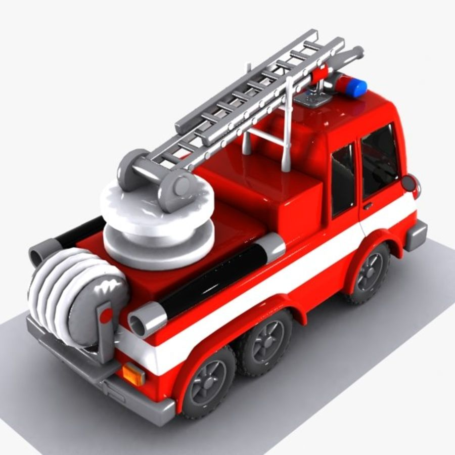 Cartoon Fire Truck 1 royalty-free 3d model - Preview no. 6