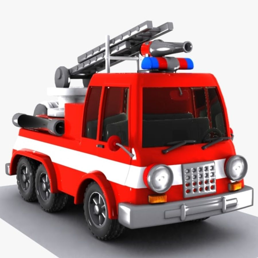Cartoon brandweerwagen 1 royalty-free 3d model - Preview no. 4