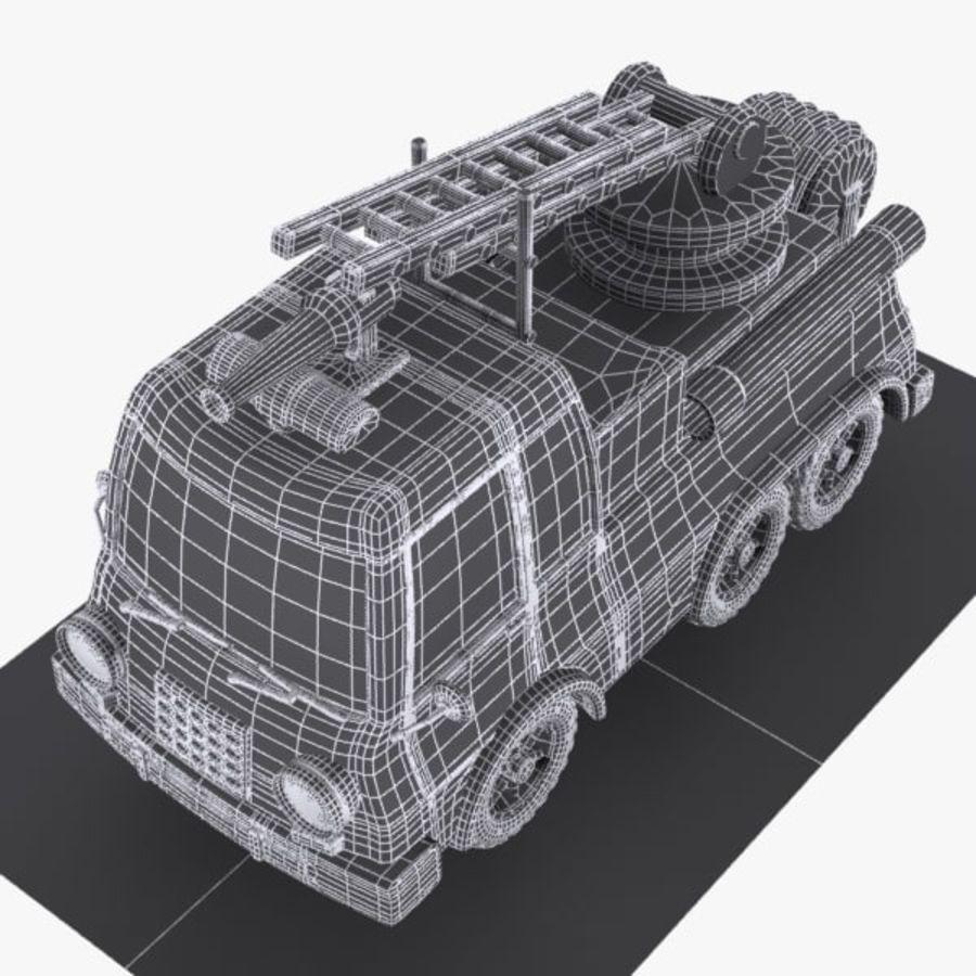 Cartoon brandweerwagen 1 royalty-free 3d model - Preview no. 8