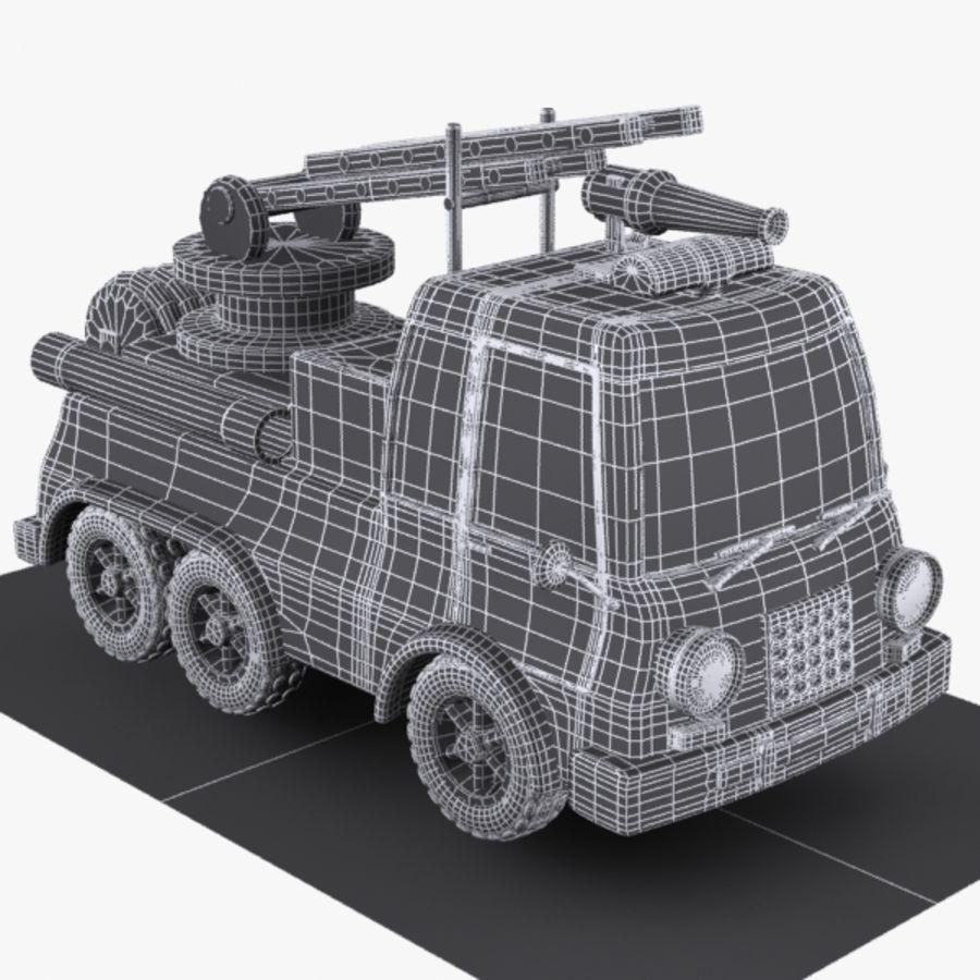Cartoon brandweerwagen 1 royalty-free 3d model - Preview no. 9