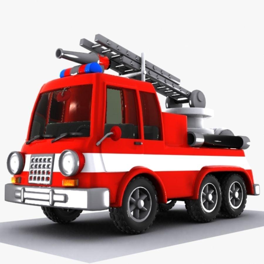 Cartoon brandweerwagen 1 royalty-free 3d model - Preview no. 1