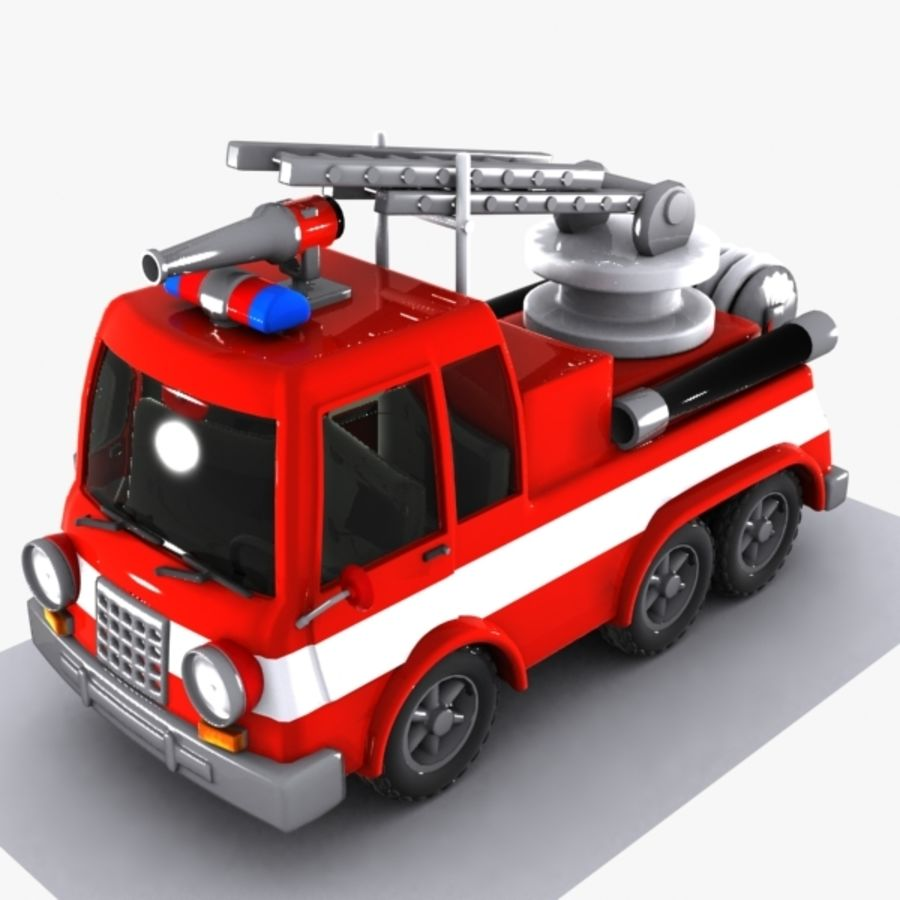 Cartoon Fire Truck 1 royalty-free 3d model - Preview no. 3