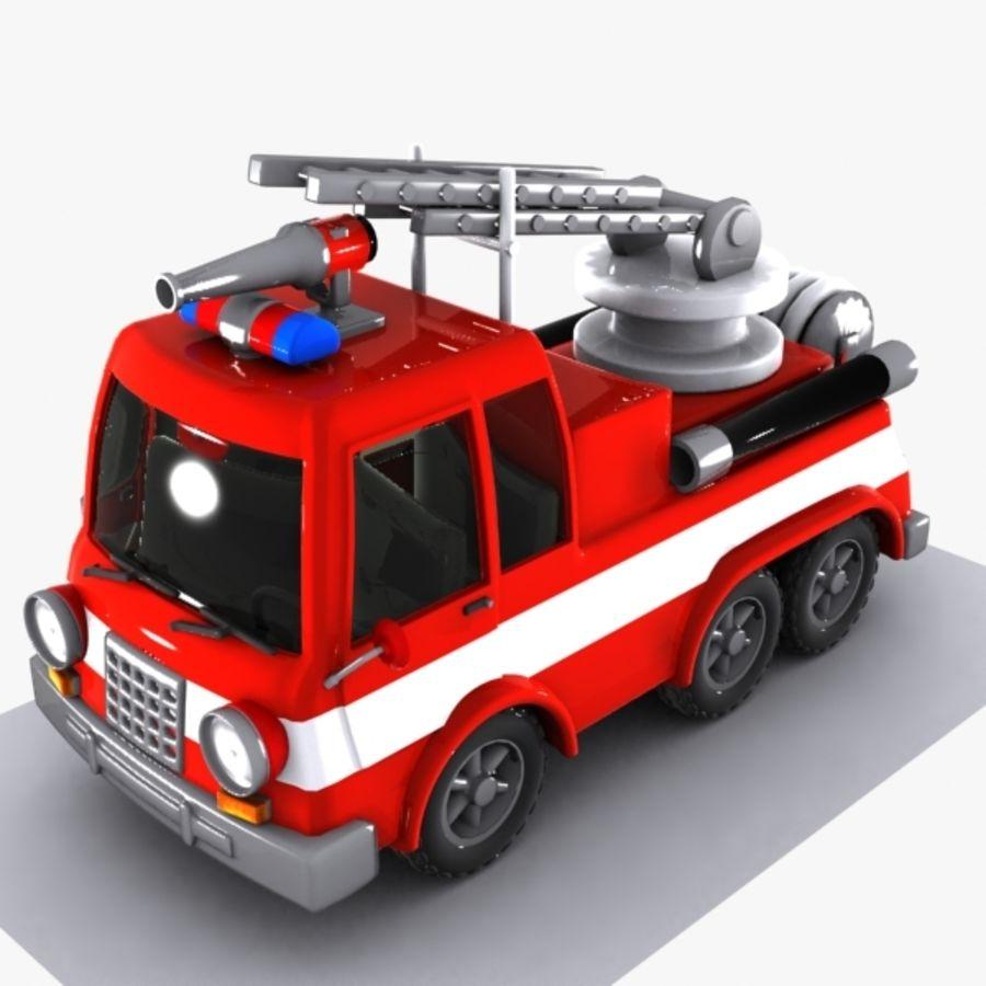 Cartoon brandweerwagen 1 royalty-free 3d model - Preview no. 3