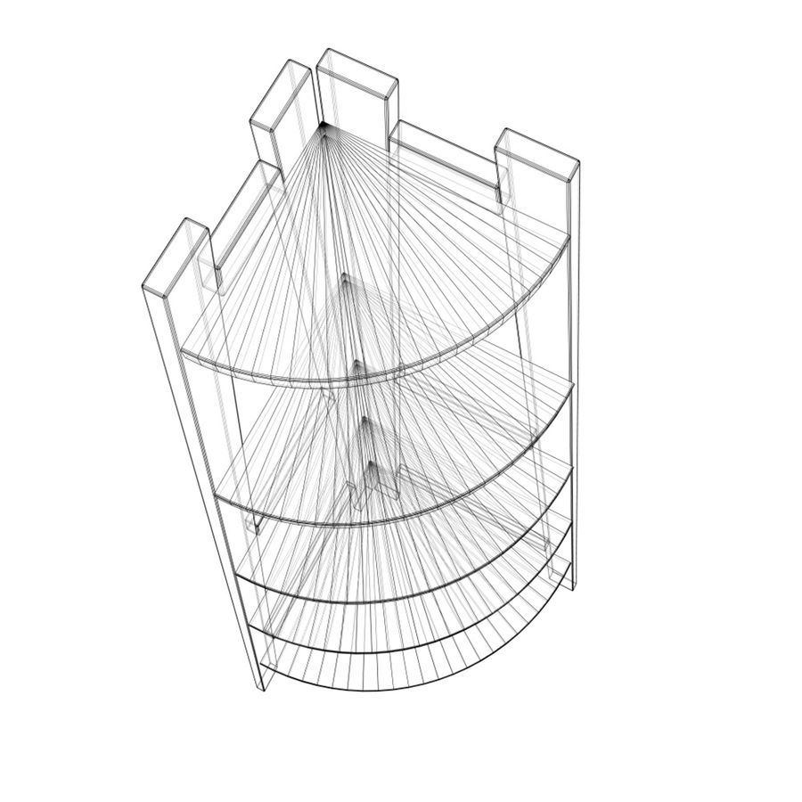 Półka narożna royalty-free 3d model - Preview no. 7