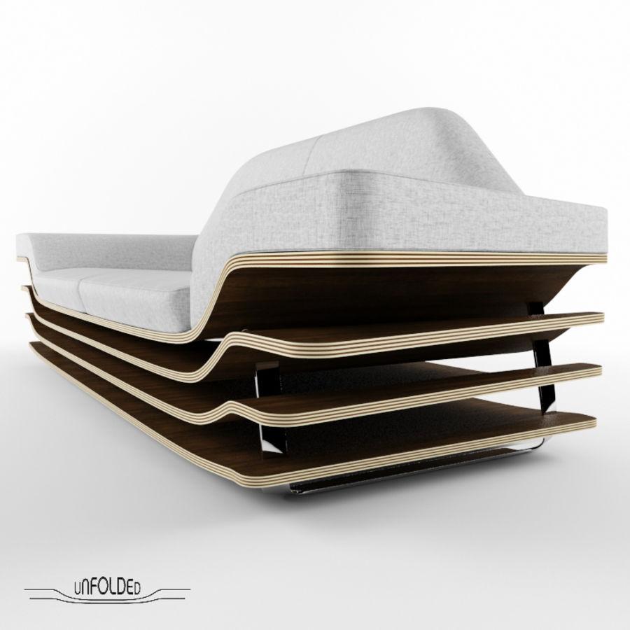 Rozkładana sofa royalty-free 3d model - Preview no. 3