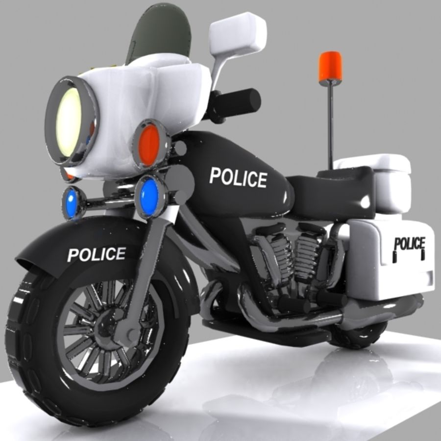 Cartoon Police Motorcycle royalty-free 3d model - Preview no. 2