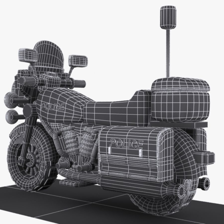 Cartoon Police Motorcycle royalty-free 3d model - Preview no. 10