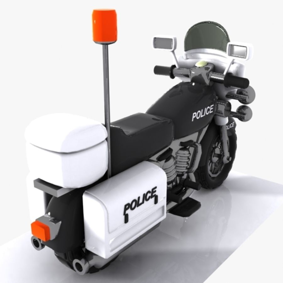 Cartoon Police Motorcycle royalty-free 3d model - Preview no. 6
