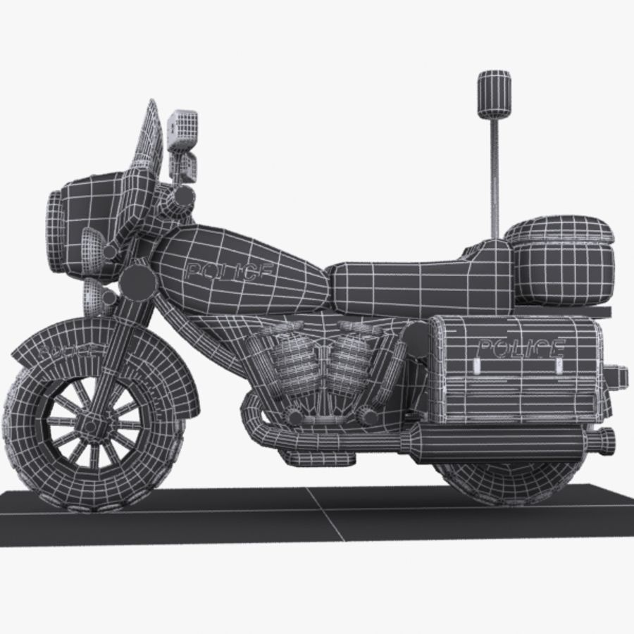 Cartoon Police Motorcycle royalty-free 3d model - Preview no. 9
