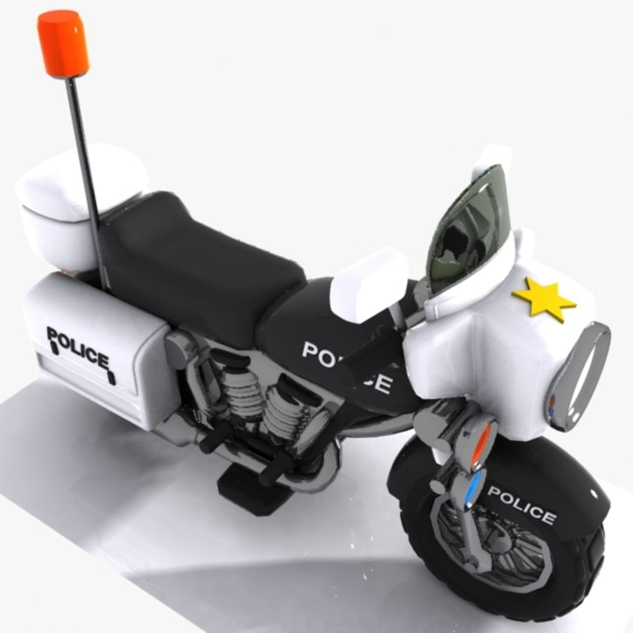 Cartoon Police Motorcycle royalty-free 3d model - Preview no. 5
