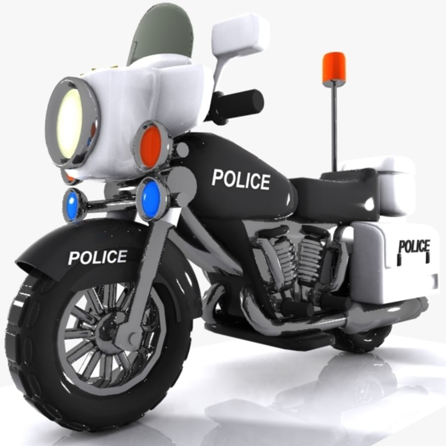 Cartoon Police Motorcycle royalty-free 3d model - Preview no. 1