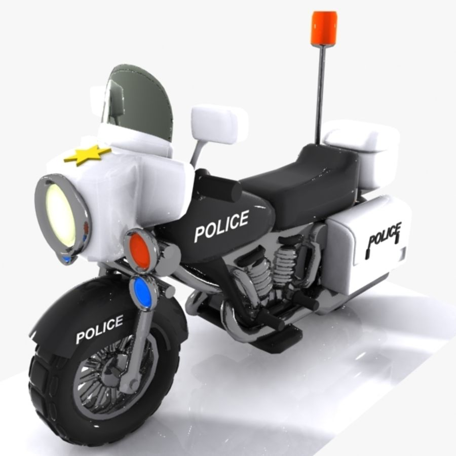 Cartoon Police Motorcycle royalty-free 3d model - Preview no. 3