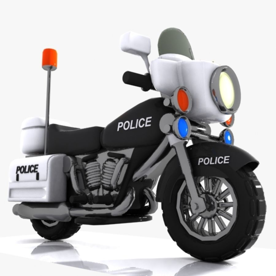Cartoon Police Motorcycle royalty-free 3d model - Preview no. 4