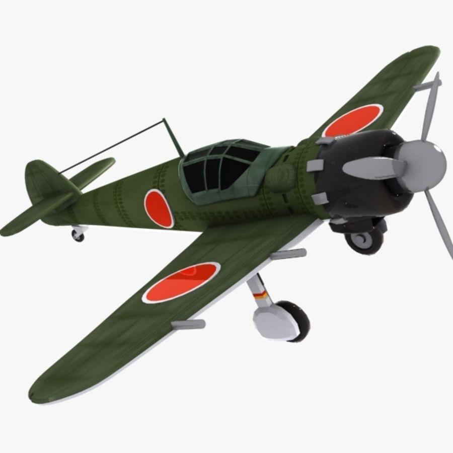 Cartoon Japanese Aircraft (World War 2) royalty-free 3d model - Preview no. 3