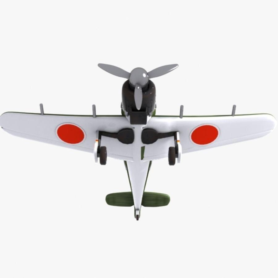 Cartoon Japanese Aircraft (World War 2) royalty-free 3d model - Preview no. 7