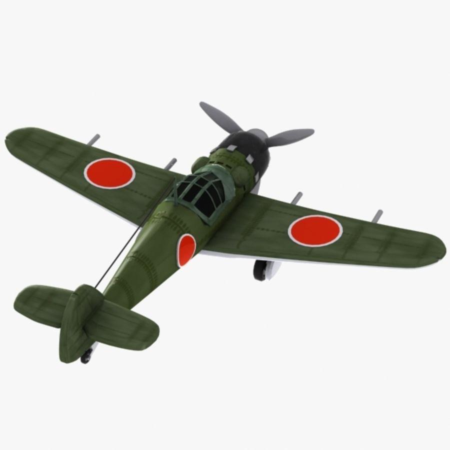 Cartoon Japanese Aircraft (World War 2) royalty-free 3d model - Preview no. 8