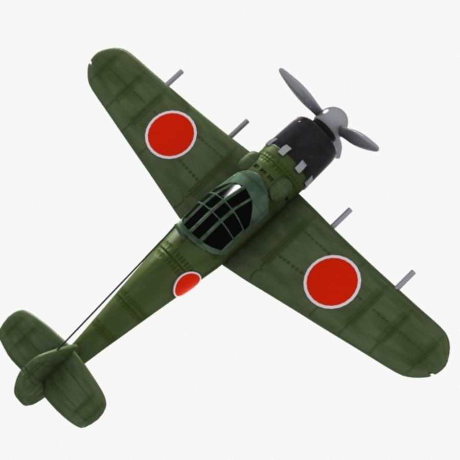Cartoon Japanese Aircraft (World War 2) royalty-free 3d model - Preview no. 6