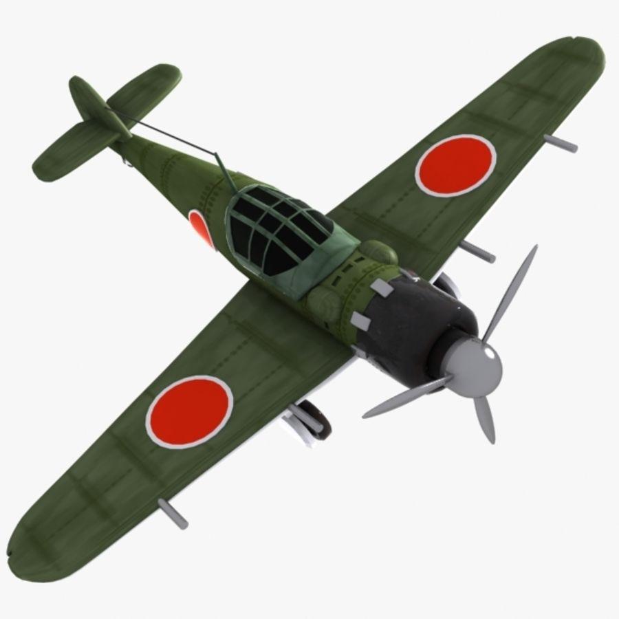 Cartoon Japanese Aircraft (World War 2) royalty-free 3d model - Preview no. 1