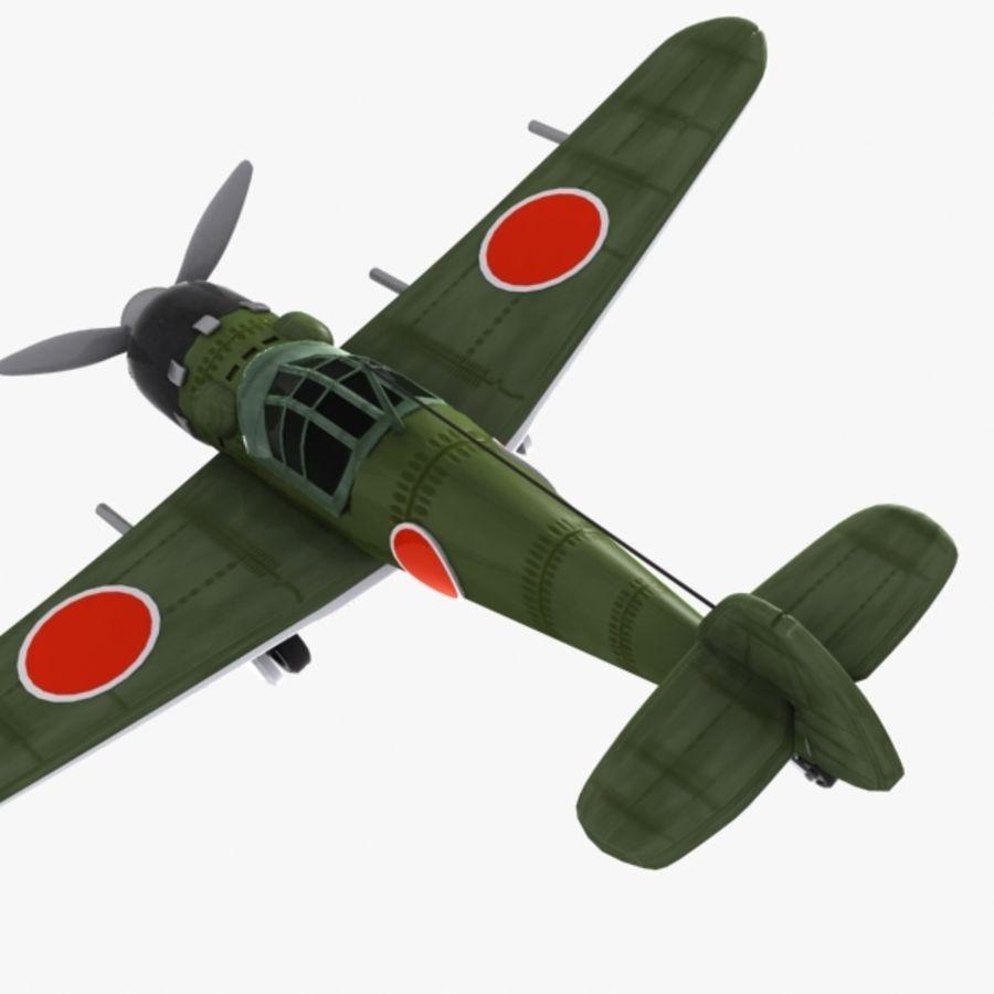 Cartoon Japanese Aircraft (World War 2) royalty-free 3d model - Preview no. 5