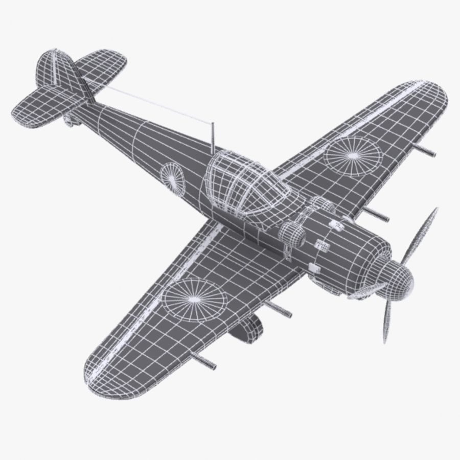 Cartoon Japanese Aircraft (World War 2) royalty-free 3d model - Preview no. 10
