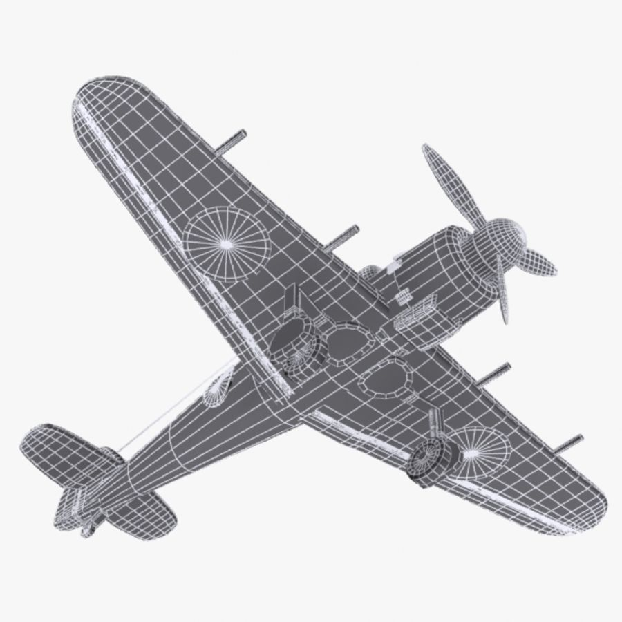Cartoon Japanese Aircraft (World War 2) royalty-free 3d model - Preview no. 11