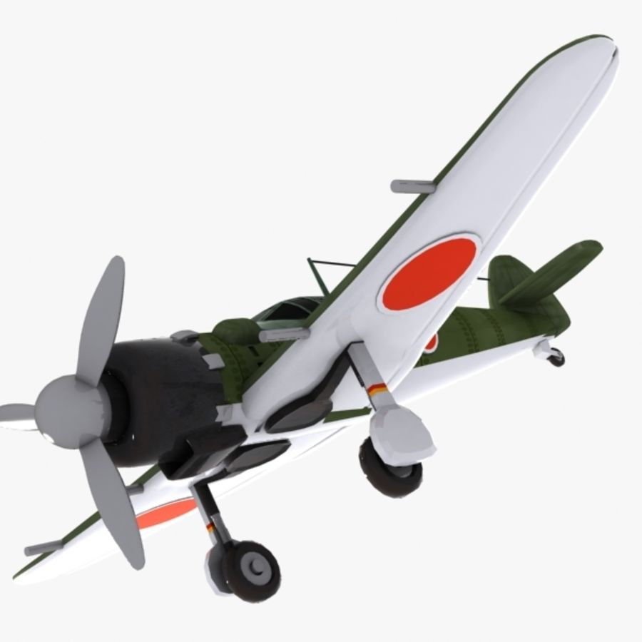 Cartoon Japanese Aircraft (World War 2) royalty-free 3d model - Preview no. 4