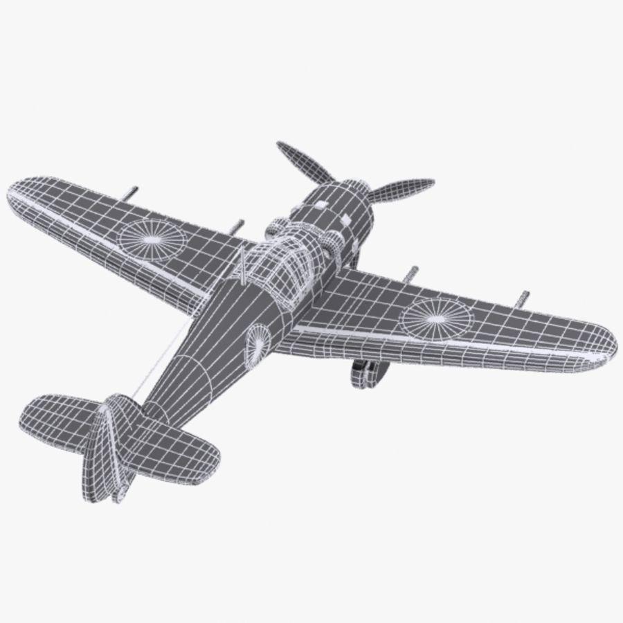 Cartoon Japanese Aircraft (World War 2) royalty-free 3d model - Preview no. 9