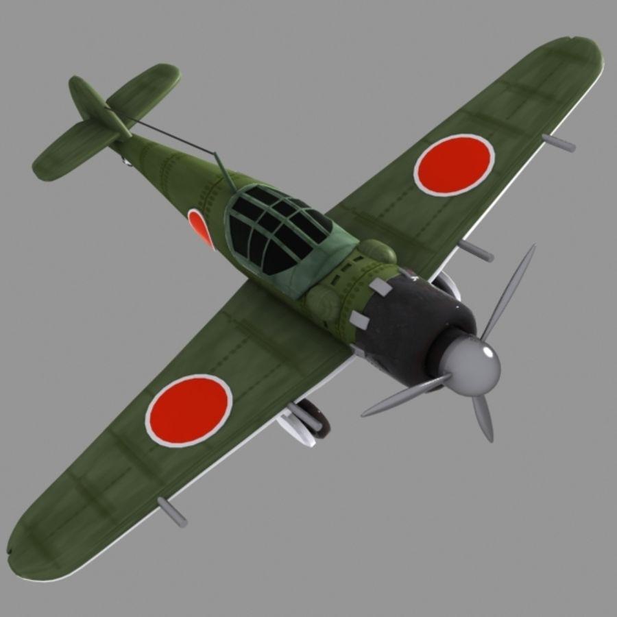Cartoon Japanese Aircraft (World War 2) royalty-free 3d model - Preview no. 2