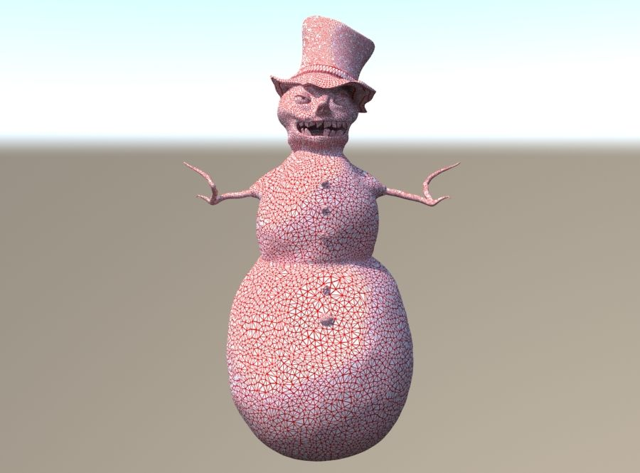 Snowman Creepy royalty-free 3d model - Preview no. 2
