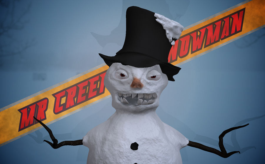 Snowman Creepy royalty-free 3d model - Preview no. 1