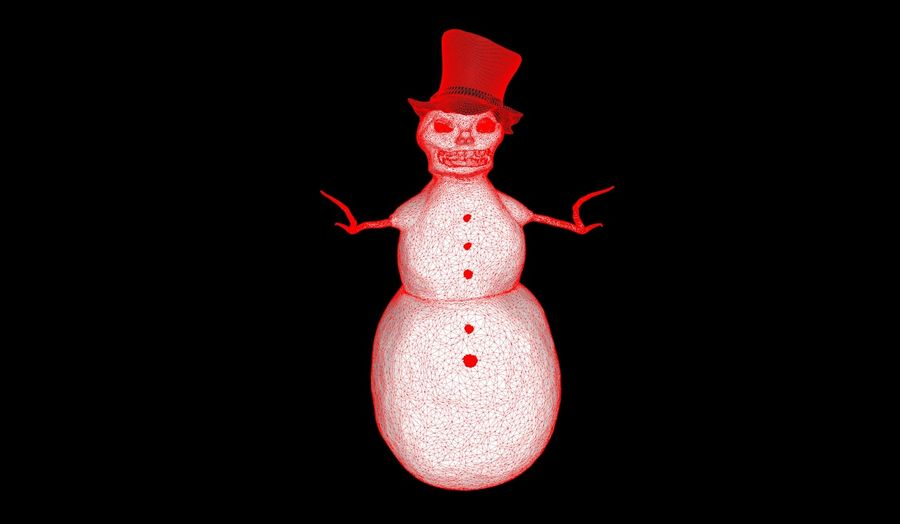 Snowman Creepy royalty-free 3d model - Preview no. 4