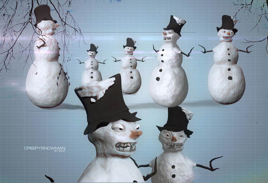 Snowman Creepy royalty-free 3d model - Preview no. 3