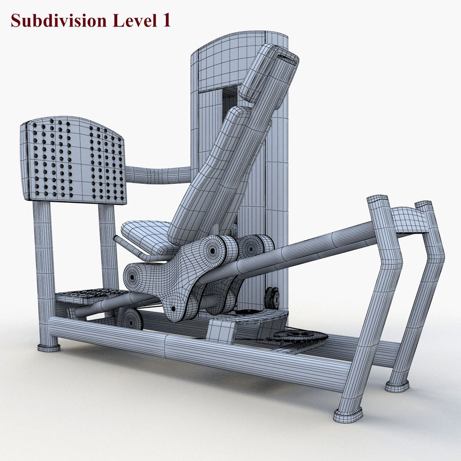 Seated Leg Press royalty-free 3d model - Preview no. 12