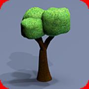 80 trees toon textured 3d model