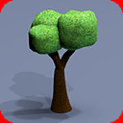 80 trees toon textured 3d model