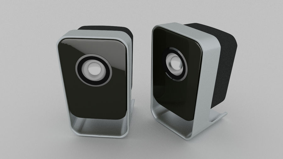 Desktop Speakers royalty-free 3d model - Preview no. 7