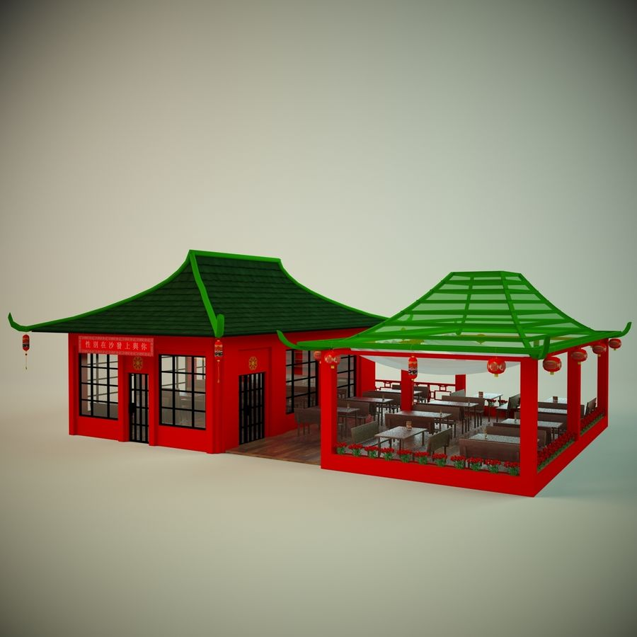 Japan sushi cafe royalty-free 3d model - Preview no. 1