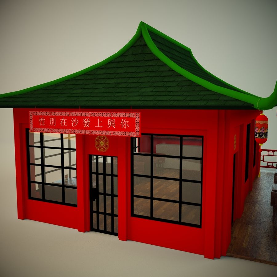 Japan sushi cafe royalty-free 3d model - Preview no. 6
