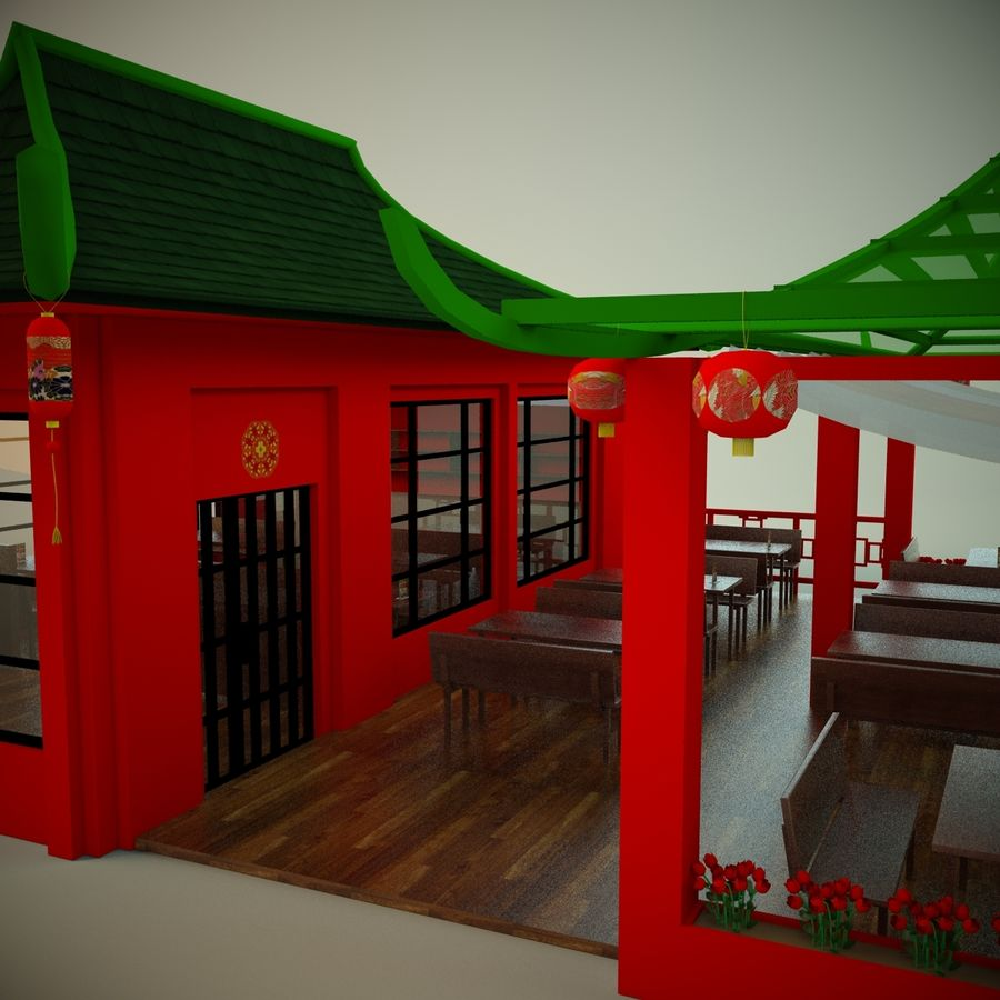 Japan sushi cafe royalty-free 3d model - Preview no. 7