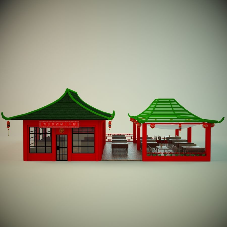 Japan sushi cafe royalty-free 3d model - Preview no. 3