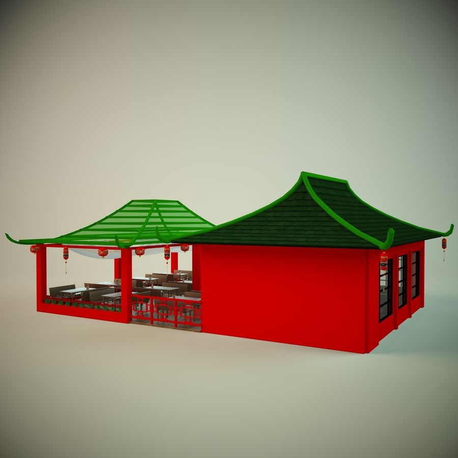 Japan sushi cafe royalty-free 3d model - Preview no. 2
